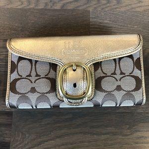 Coach Monogram Gold Wallet